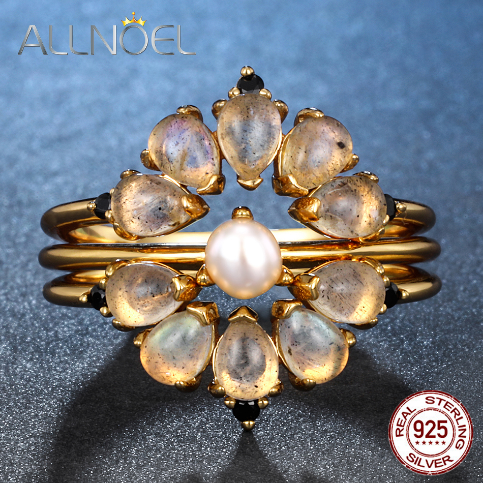 ALLNOEL Natural Gemstone Labradorite Rose Quartz Opal Wedding Statement Ring  925 Sterling Silver Stacking Rings For Women