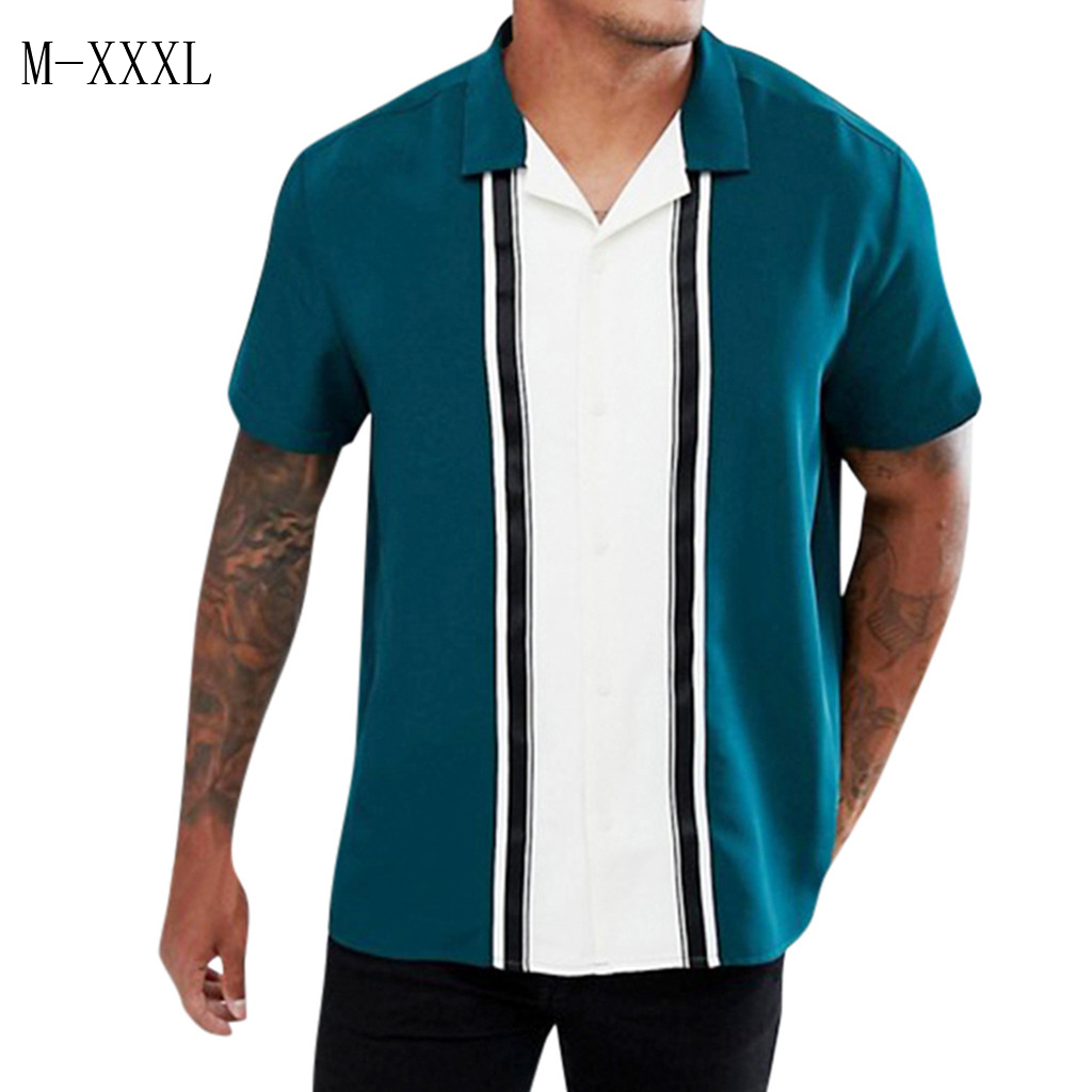 Striped Loose Solid Printed Shirts Slim Fit Beach Fashion Casual Brand Blouse Retro Shirt Men's Short Sleeve Shirt Homme Top