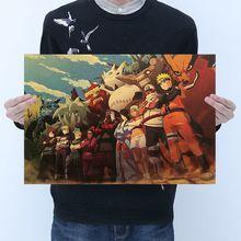 Popular Anime Naruto figura de acción pegatinas retro Sasuki Kakashi Bar dormitorio póster decorativo pegatinas colección para chico