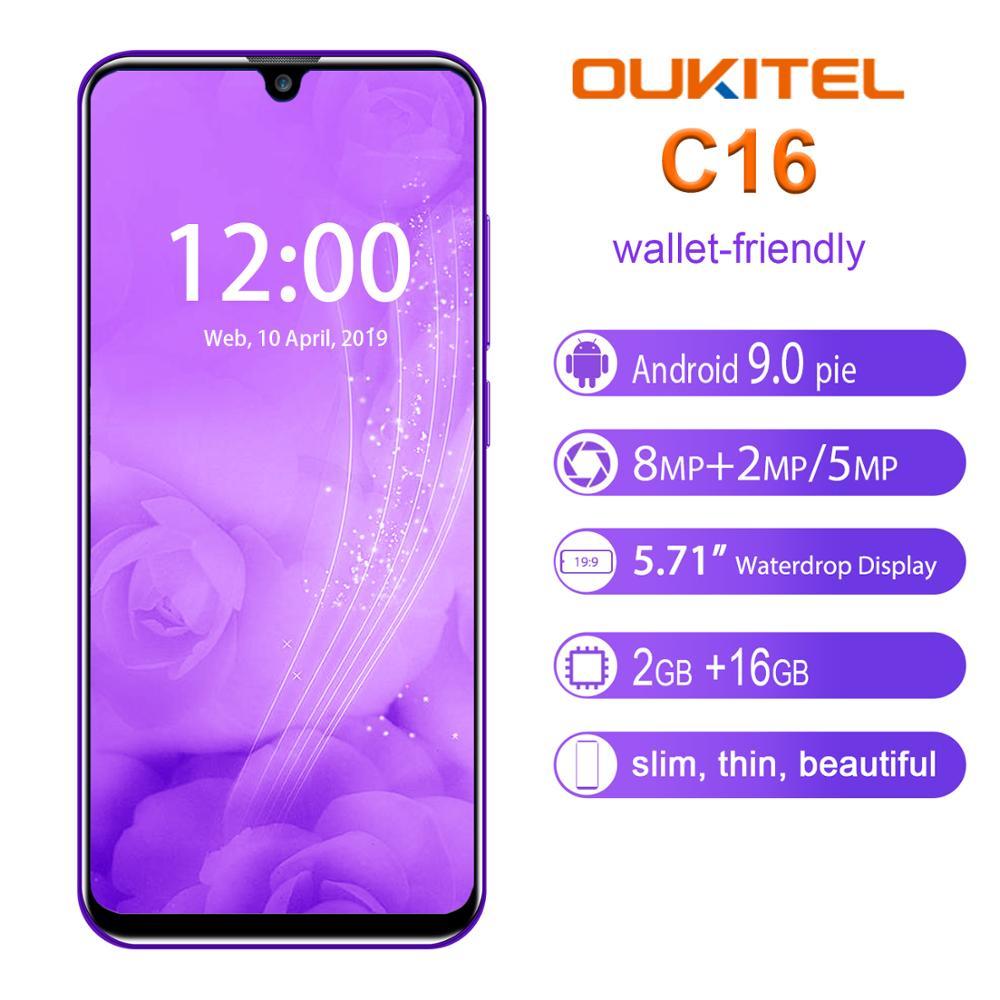 מדיחי כלים OUKITEL C16 נייד טלפון אנדרואיד 9.0 Quad Core 2G RAM 16G ROM נייד 2600mAh Dual מצלמה נעילת 5.71 אינץ Smartphone (2)