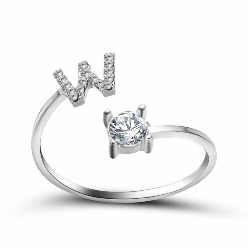 1pcs W สีเงินเต็มรูปแบบเจาะแหวนสำหรับสตรี PARTY Favors ของขวัญเครื่องประดับนิ้วมือสำหรับปาร์ตี้วันวาเลนไทน์ของขวัญของที่ระลึก