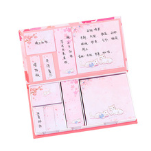 80 Sheets * 6 Note Pad Meno Pads Ins Girl Cherry Blossom Cat Post-it-it Combination Set Student Boxed Note Pad N Times Posted платон meno