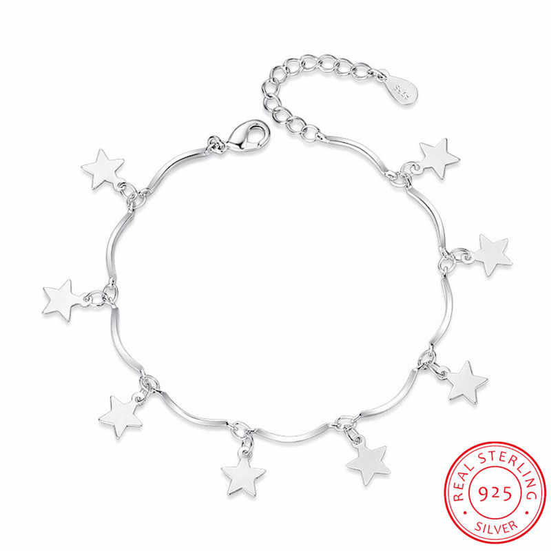 925 Sterling Silver Bracelets & Bangles For Women Sterling-silver-jewelry Lovely Star Bracelet pulseira S-B113