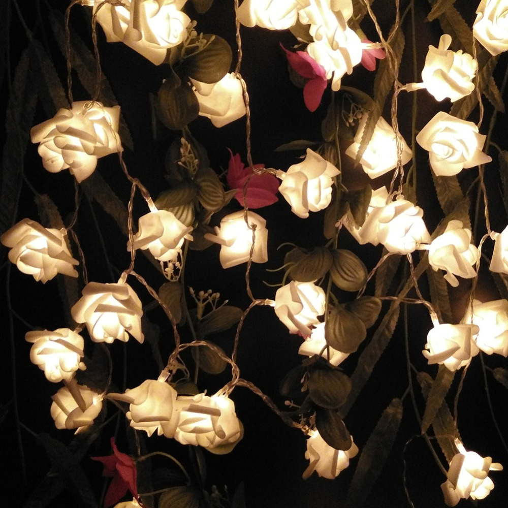 2M 20 Roses Flower Garland LED Holiday String Lights Valentine Birthday Wedding Party Decoration Economic Battery Lights
