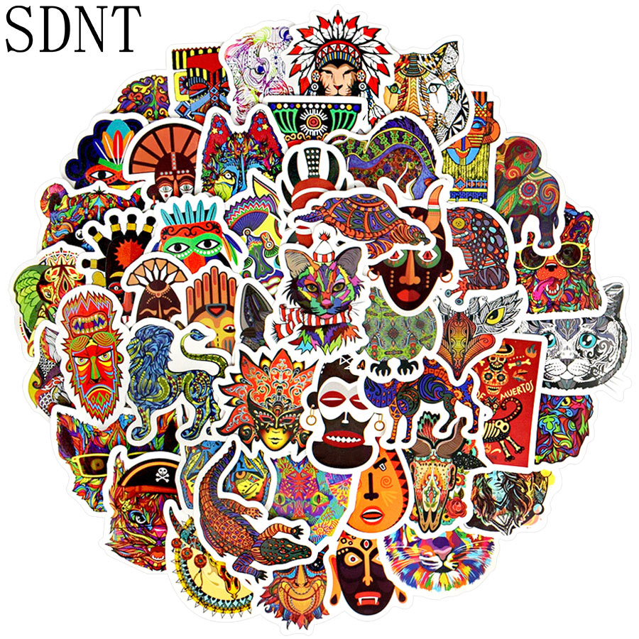 50 PCS Totem Animal Stickers Ethnic Mandala Tribal Tattoo Graffiti Cool Stickers To DIY Skateboard Laptop Suitcase Car Sticker