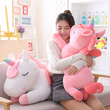 Super Big 50-80cm Unicorn Stuffed Animals Dolls Plush Toy Rainbow Horse Flying Wings Fat Gaint Pillow For Kids Gifts