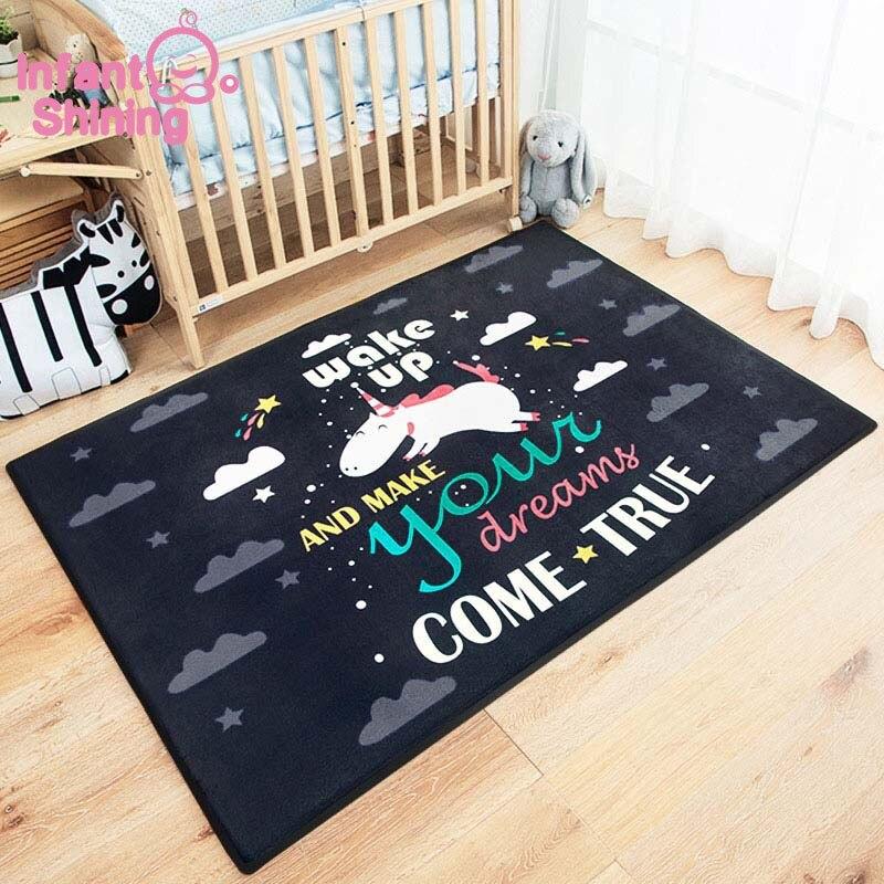 Bébé brillant bande dessinée bébé tapis de jeu épais daim salon tapis enfants enfants chambre tapis couverture écologique - 2