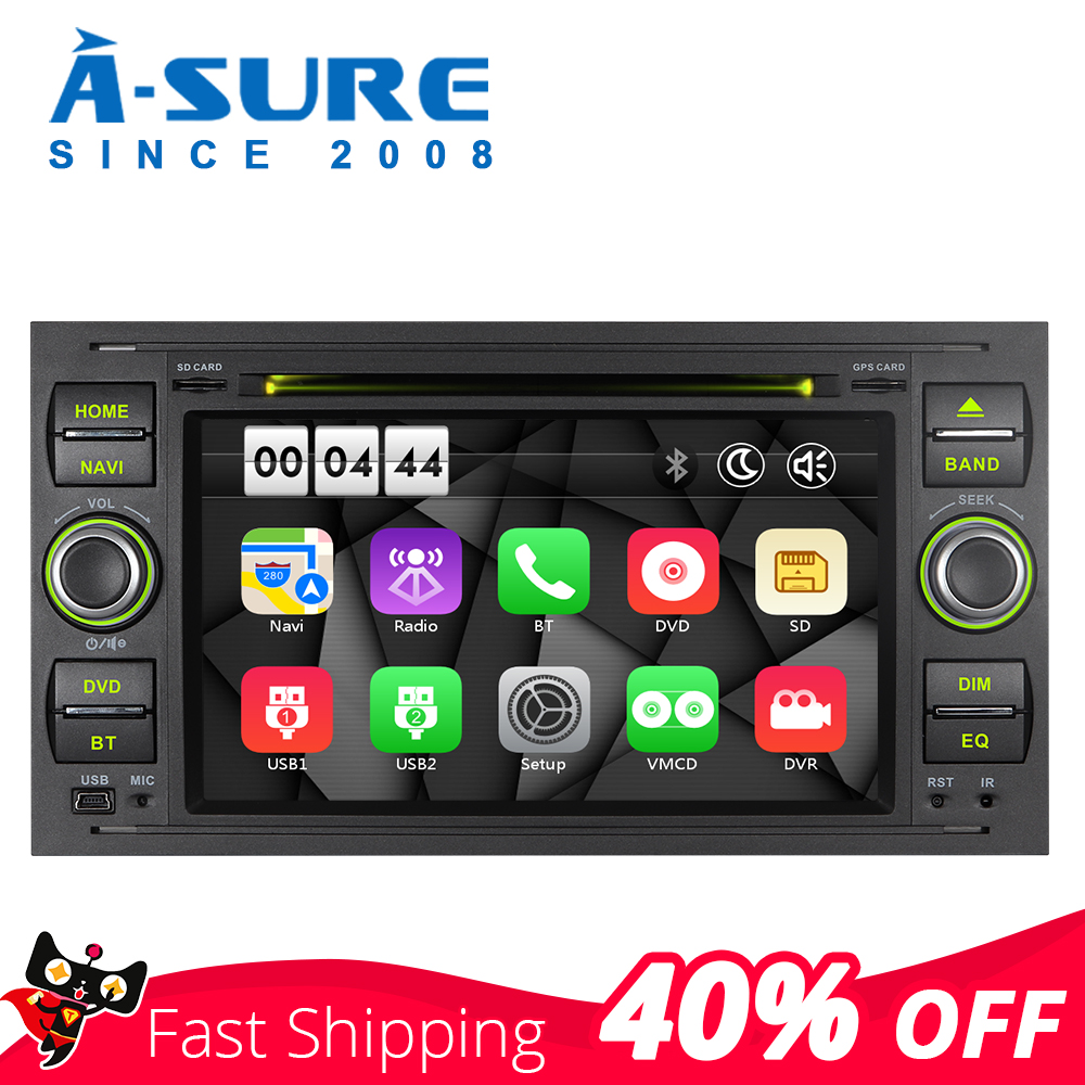 A-Sure 2 Din Car Multimedia Auto Radio <font><b>GPS</b></font> DVD Player Navigation For <font><b>Ford</b></font> Transit Focus Galaxy S-<font><b>Max</b></font> <font><b>C</b></font>-<font><b>Max</b></font> Fusion Fiesta SWC BT image