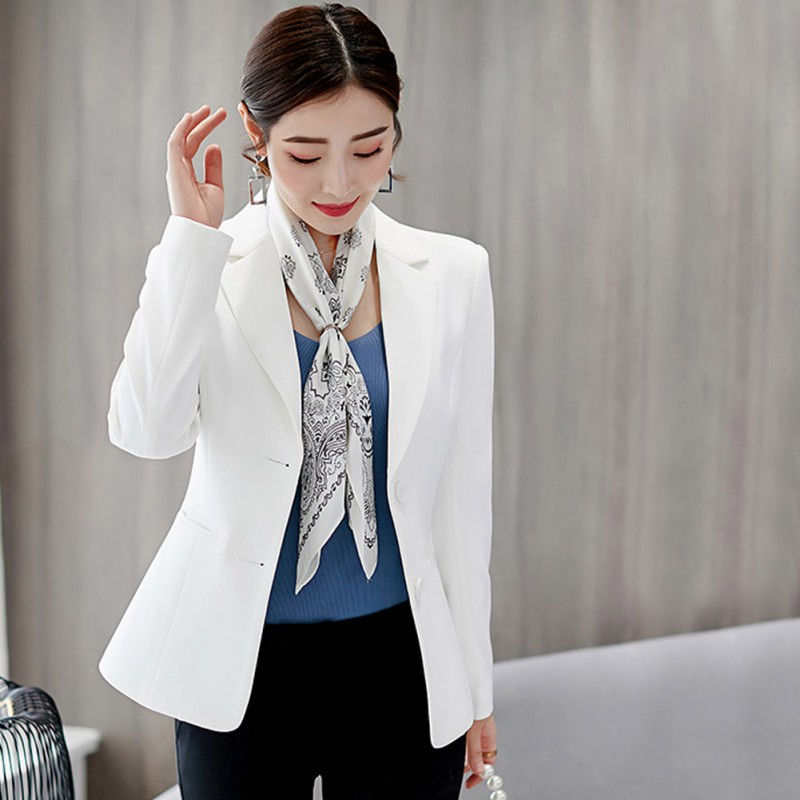 New Women Plus Size Korean Blazer Women Solid Color Blazer Female Long Sleeves Fashion Slim  Black White  Blazer Outwears