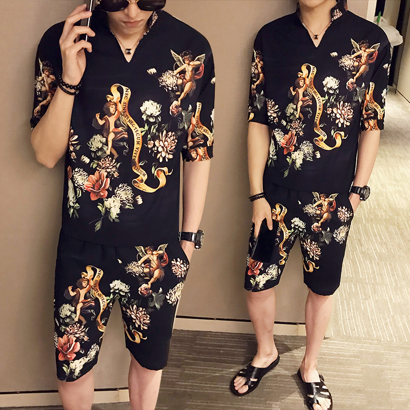 2020 Spring Men's Shorts Short-sleeved Two-piece Hot Sale Slim Street Sportswear Fashion Trend Cotton Printing Two-piece