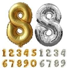 Ballons numériques en feuille d'aluminium de 16 pouces, pour décoration de fête 0-9, en or argent, avec figurines de mariage, à Air