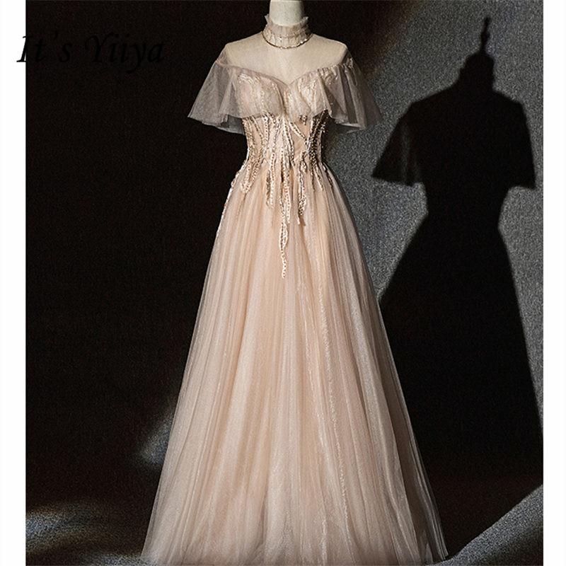It's Yiiya Evening Dress 2019 High Short Sleeve Plus Size Women Party Dresses Sequin Formal Floor-Length Robe De Soiree E839