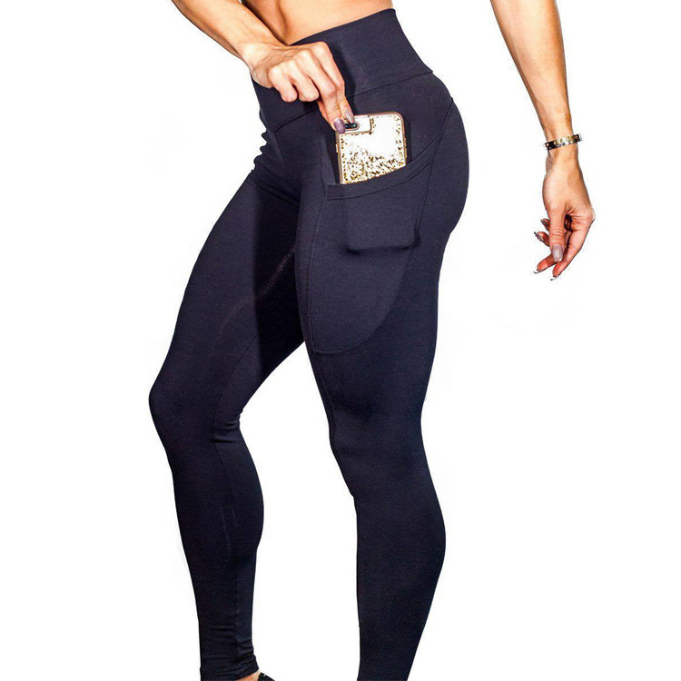 Side Mobile Phone Pocket Fitness Leggings  Run Motion Bodybuilding Pants