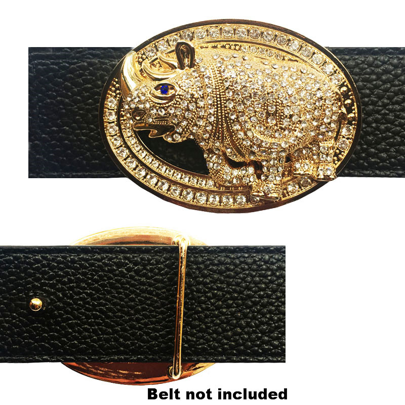 Vintage Leather Rhino Icon Buckle For Belt Gold And Silver Heavy Metal Accessories For Men's Belts  Western Cowboy Dress