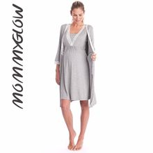 Maternidade robe para o hospital camisola grávida enfermagem pijamas rendas pijamas ropa mujer embarazada premama ternos