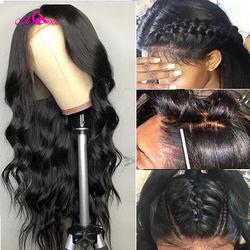 Али Коко Бразильский объемная волна Синтетические волосы на кружеве парики натуральный черный Цвет 150% Плотность 13X4 человеческих волос