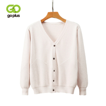 GOPLUS 2019 Autumn Cardigan Womens Knitted Jacket V Neck Thick warm Long Sleeve Sweater Casual Loose Jumper Pull Femme