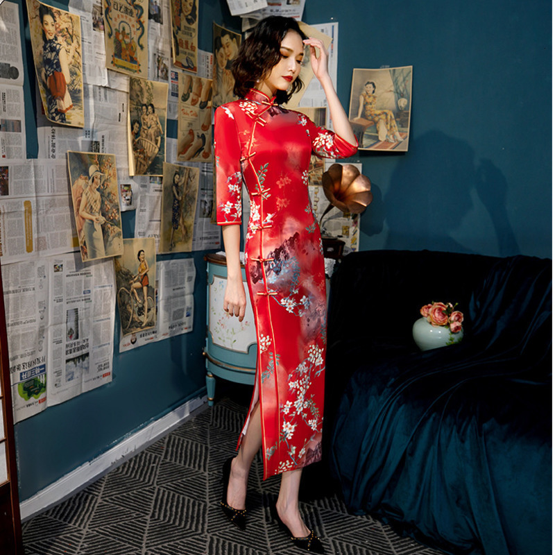 S-4XLchina Red Silk Cheongsam Chinese Dresses Autumn Improved Long Evening Qipao Women Slim Oriental Style Dress