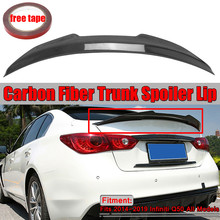 PSM Style Real Carbon Fiber Duckbill Car Rear Trunk Spoiler Wing Lip Big For Infiniti Q50 PSM Style 2014-2019 Wing Spoiler(China)