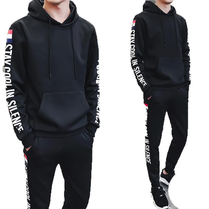 Man Fall Hoodies Pants 2piece Set Sweatsuit Male Casual Outdoor Sports Gym Joggers Running Tracksuits Sweatpants Sweat Suits Men