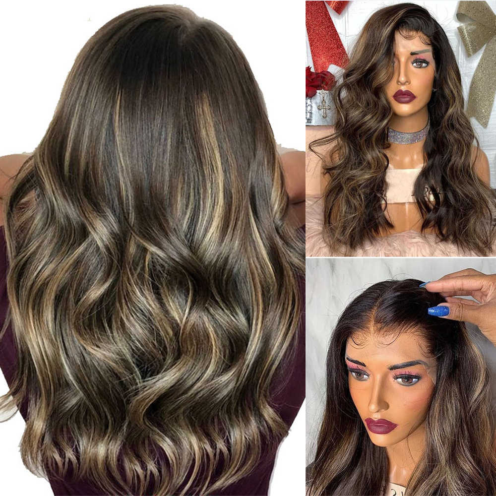 Full Lace Human Hair Wigs Highlights Color Brazilian Remy Natural Wave Hair For Women Bleached Konts Glueless Wig with Baby Hair