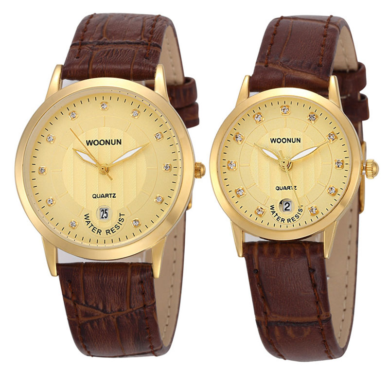 Top Famous Brand Luxury Lovers Watches WOONUN Leather Strap Rhinestone Set Fashion Quartz Couple Watches For Lovers Dropshipping