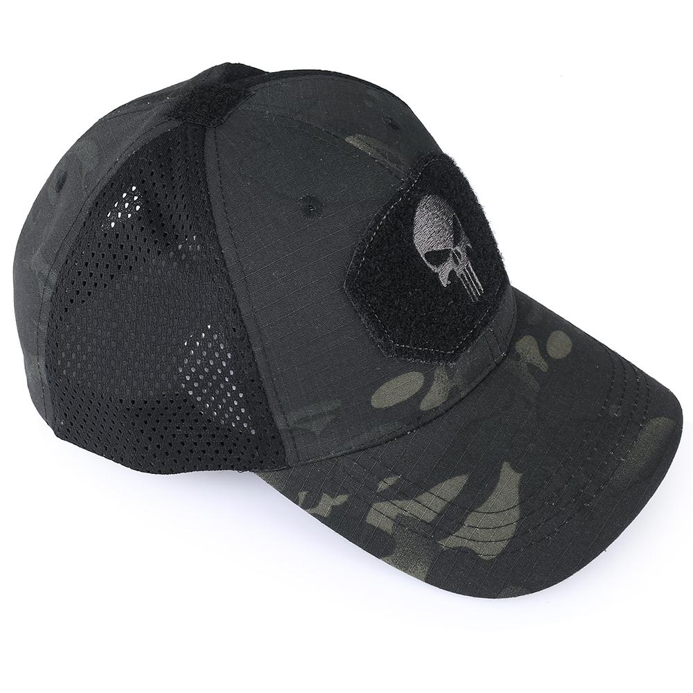 Skull Tactical Military Airsoft Cap Adjustable Breathable Sun Visor Trucker Hat Mesh Hunting Hiking Baseball Skeleton Snapback 27