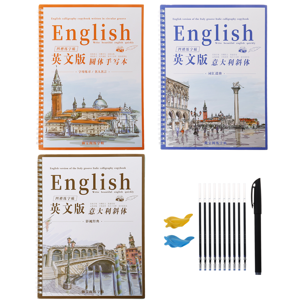 3 Reusable Groove Calligraphy Copybook English Italic Handwriting Groove Training Pen Refills Hold Tools Set