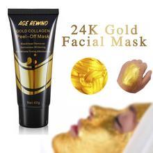 24K Золотая коллагеновая маска для лица анти старение Отбеливание морщин лифтинг укрепляющая против черных точек гладкая слеза маски уход за кожей