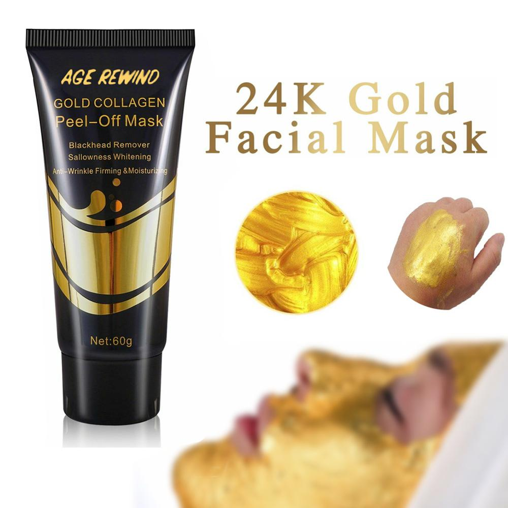 24K Gold Collagen Facial Mask Anti Aging Whitening Wrinkle Lifting Firming To Blackheads Smooth Tear Peel Off Masks Skin Care