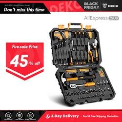 DEKO DKMT128 Dopsleutel Tool Set Auto Reparatie Mixed Tool Combinatie Pakket Hand Tool Kit met Plastic Toolbox Opslag Case