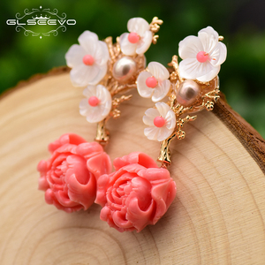 Image 2 - GLSEEVO Real 925 Sterling Silver Pink Coral Drop Earrings White Pearl Pink Natural Stone Shell Flower Dangle Earrings GE0024