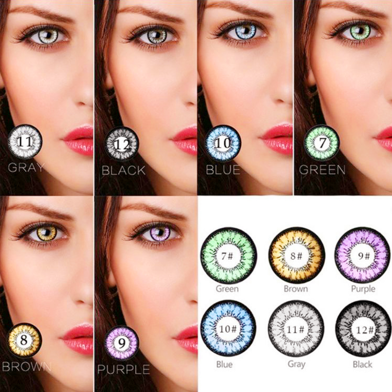 1 Pair Beautiful Pupil Color Contact Lenses Monthly Female Path 14.5mm Cute Multicolor Party Gift Cartoon Decoration Cosplay