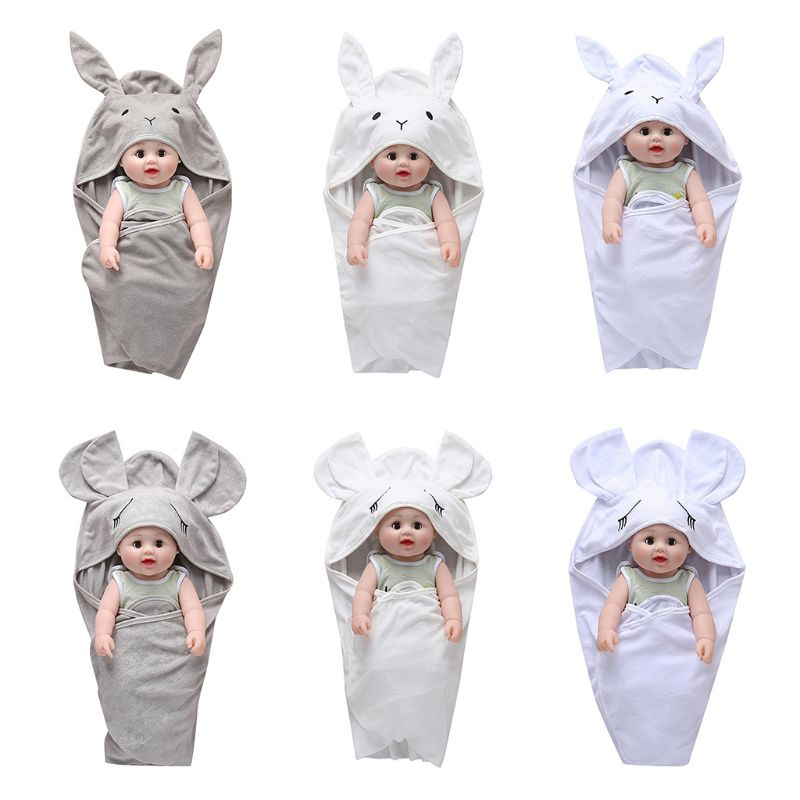 Baby Sleeping Bag Cute Cartoon Rabbit Ears Autumn Warm Toddle Infant Knitted Stroller Swaddle Wrap Nest For Newborn Kids