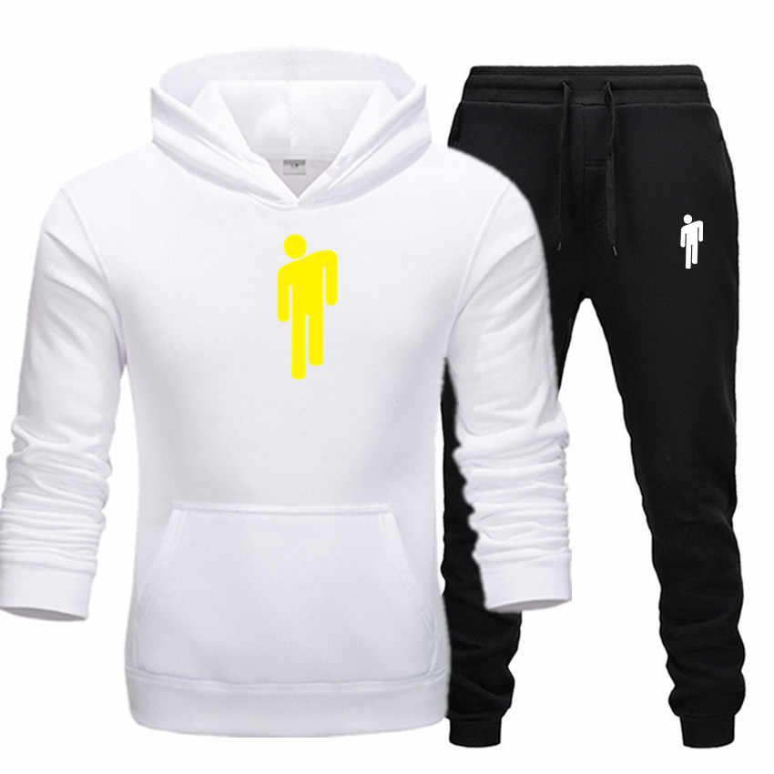 Mężczyźni odzież zestaw odzieży sportowej Billie Eili nowe bluzy z kapturem bluzy z zestawy sportowe męskie dresy dwuczęściowy bluzy z kapturem + spodnie 2 sztuk zestawy