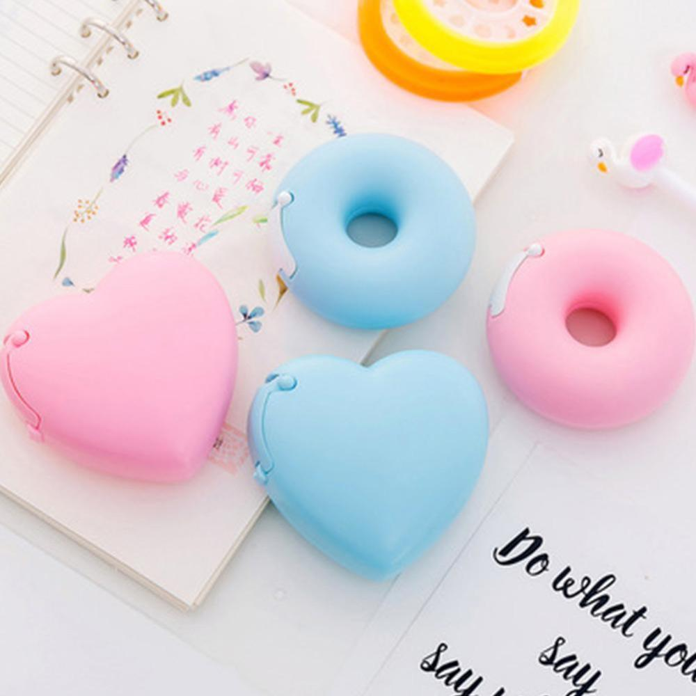 Portable Donut Tape Holder Korea Creativing Cartoon Stationery Invisible Tape Cutting Inside Small Tape Office Room Supplies