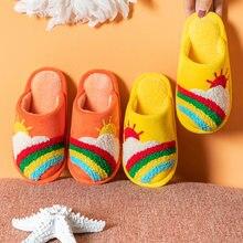 Детские хлопковые тапочки разноцветная Радужная теплая зимняя