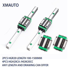 NEW HGR20  linear guide rail 2pcs with 4 pcs linear block carriage HGH...CA or HGW...CC HGH15 CNC parts hgr20 400mm linear guide rail m4 16mm linear guide slide ball screw carriage cnc router parts with 2pcs rail block