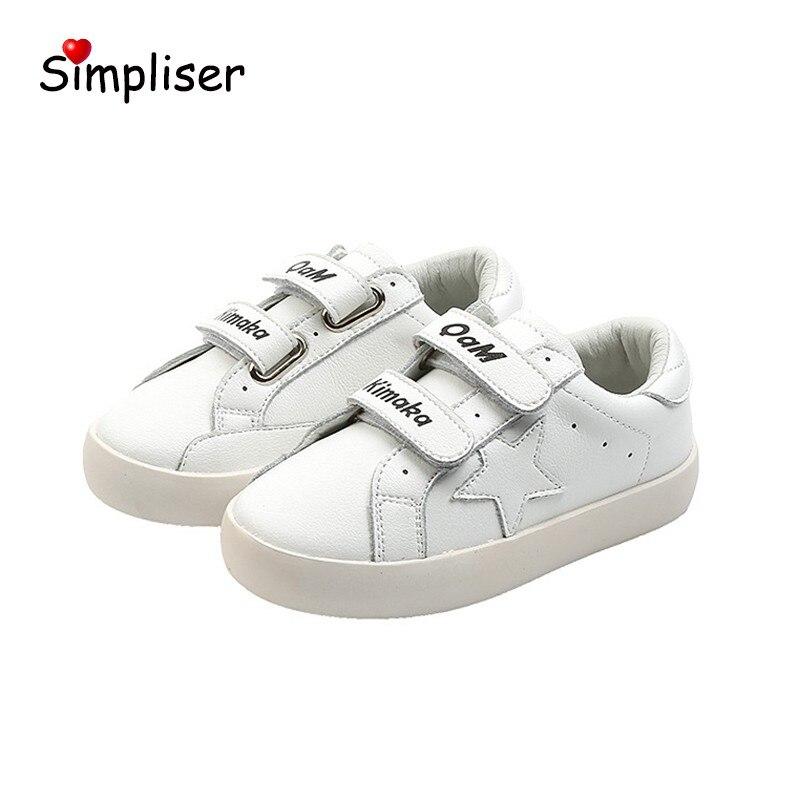 Детская обувь, кроссовки из натуральной кожи на липучке, дышащая Спортивная обувь для детей, девочек и мальчиков, Белая обувь с мягкой подош