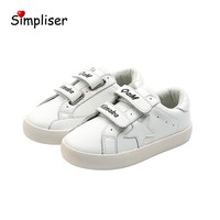 Children Shoes Genuine Leather Hook & Loop Sneakers Breathable Sport Shoes For Kids Girls Boys White Shoes Soft Sole 2020 Autumn