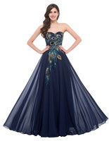 Oversize 3XL 4XL Sexy Off Shoulder Women Party Prom Dress Embroidery Peacock Chiffon Formal Dress Elegant Robe Gown Soiree