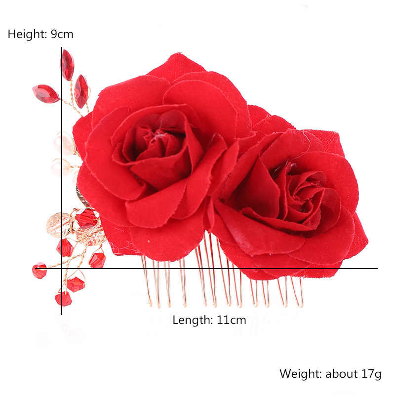 Новая мода Китайский поддельный красный с цветами роз и жемчугом гребень для волос Свадебная Невеста Noiva Свадебные аксессуары для волос голова кусок Корона