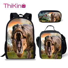 Thikin Dinosaur Pterosaur School Bags for Boys 3pcs Students Supplies Preschool Backpack Bookbag With Lunch Boxes Satchel