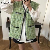 Plaid Sleeveless Fringed Cotton Cardigan Wavy Side Vest Wild Casual Fashion Loose Plus Woman 2019 Autumn New Z870