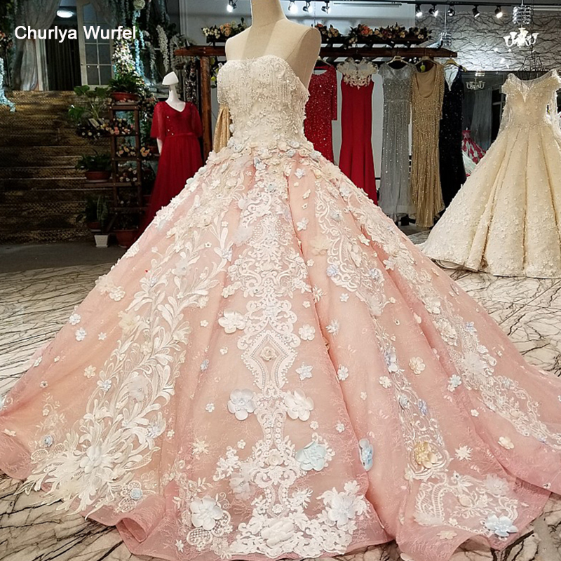 LS12441 pink sexy strapless dress quick shipping 3d flowers sleeveless backless evening dress 2018 for lovely girl from china