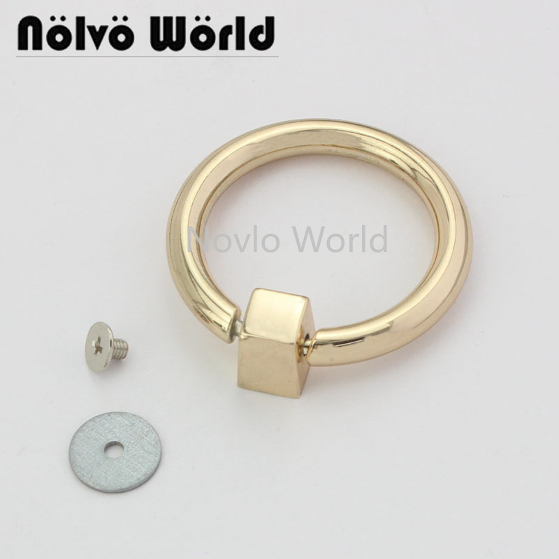 2 Pieces Test, Inner Width 30mm, Gold Metal Tassel Cap Clasp Square Buckle Screw Ring Connector Bag Hanger Hardware