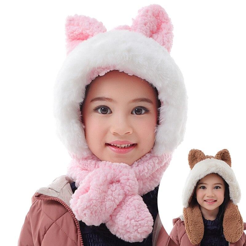 Children Winter Hat Scarf  Ear Cap Cute Plus Velvet Warm Girls Dual-Use Windproof  Winter Hat Set For  2-8years Kids