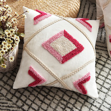 Embroidery Pillowcase Cushion-Cover Ivory Bed-Room Diamond Moroccan Home-Decoration Pink