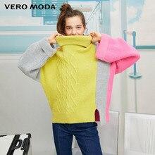 Vero Moda Винтажный Женский Цветной Сращивание с открытыми плечами свободный крой с высоким воротником свитер   319413557