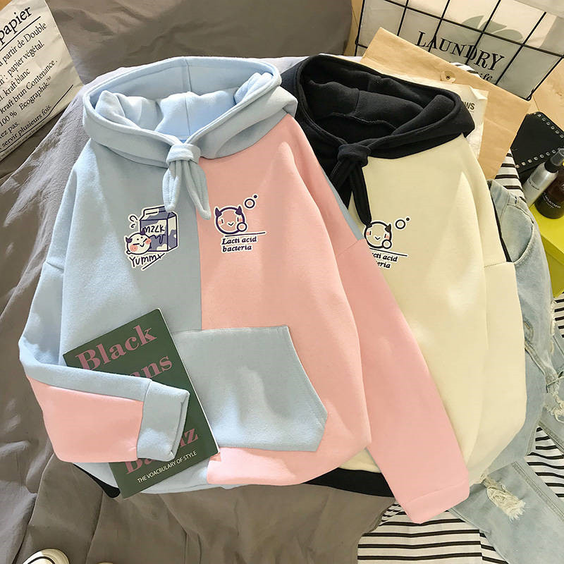 Girl Harajuku Print Pullover Thick Loose Hoodies High Street Ladies Casual Long Sleeve Female Pullover Fashion Chic Autumn Style